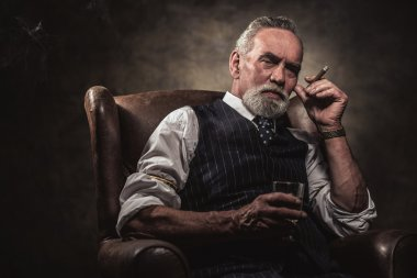In chair sitting senior business man with cigar and whisky. Gray hair and beard wearing blue striped gilet and tie. Against brown wall. stock vector