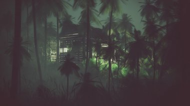 Abandoned old wooden cabin in remote palm tree jungle at night.