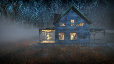 Spooky halloween house with ghosts standing in the windows. Mist