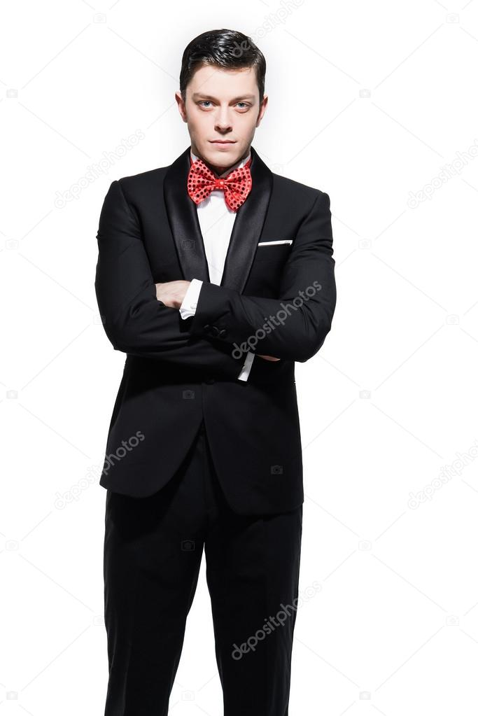 new year s eve fashion man wearing black dinner jacket with big