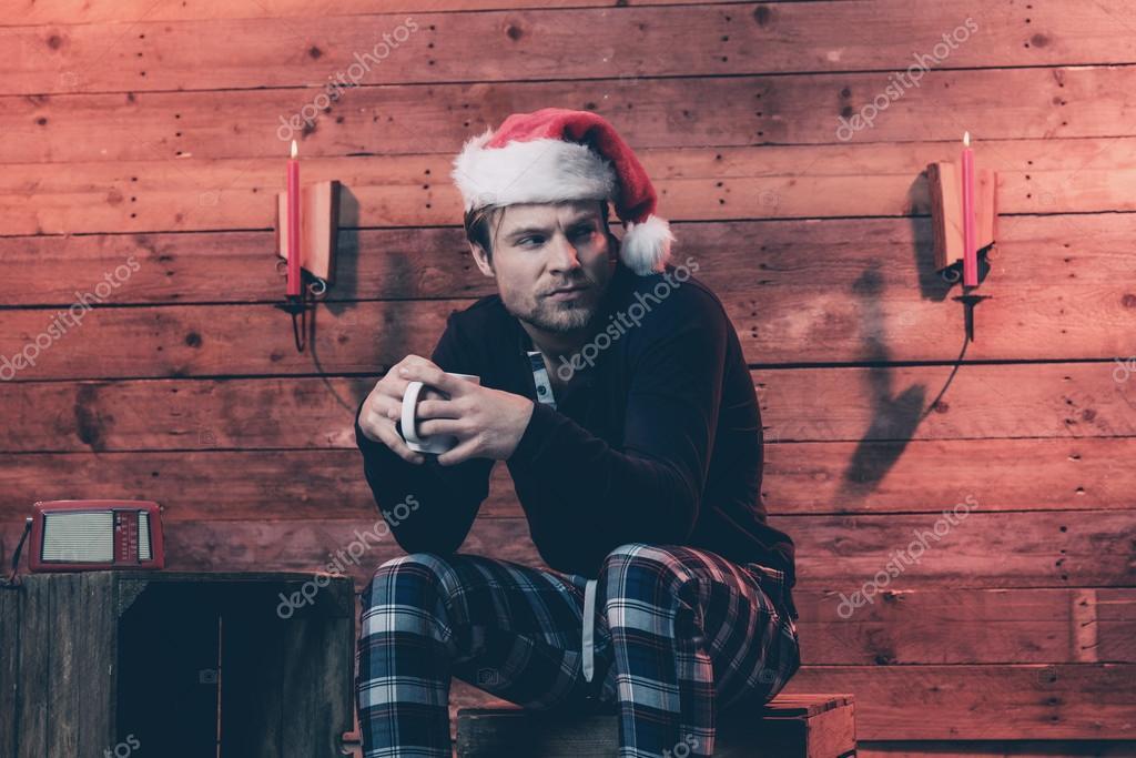 Mann Mit Blonden Haaren Bart Und Weihnachten Trägt Hut Winter Sle