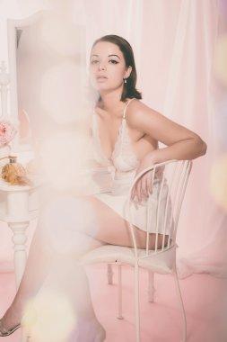 Girl in White Night Wear