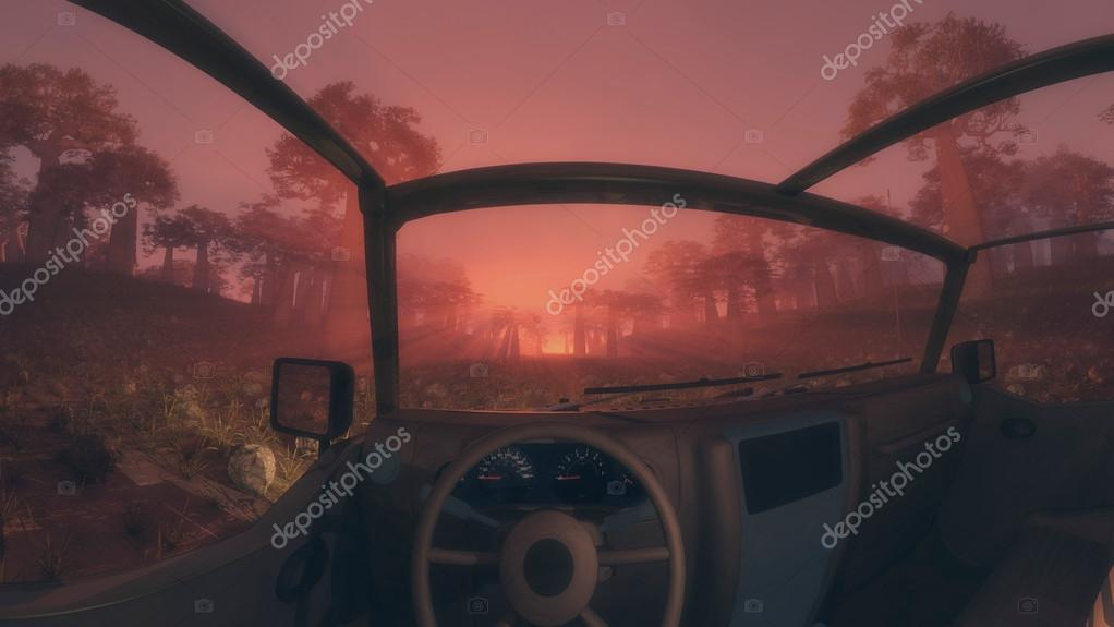 Inside a 4x4 vehicle at sunrise or sunset