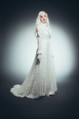 Woman with White Hair in white dress
