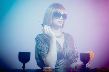 Glamorous Woman Standing at Bar