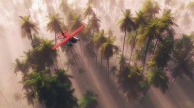 Airplane flying over tropical palm trees