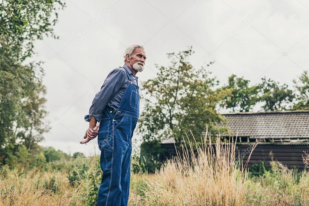 Senior Farmer Looking to Distance