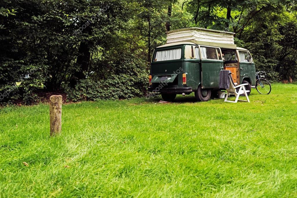 Vintage Camping Van on Meadow