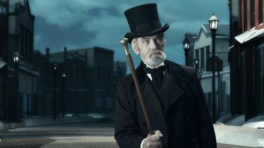 Dickens Scrooge Man in Old Street.