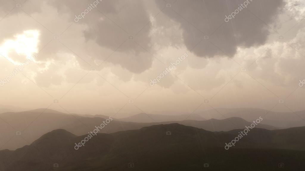 Mountain landscape in rain