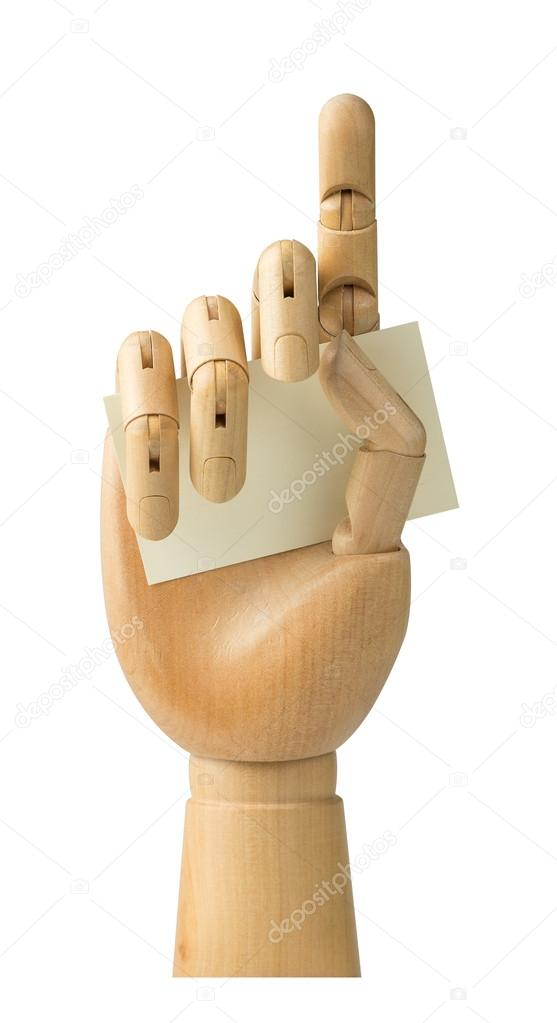 Wooden hand holding business card isolated on a white background wooden hand holding business card isolated on a white background stock photo colourmoves