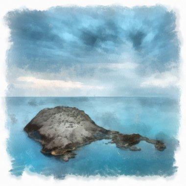 Landscape painting showing beautiful minimalist seascape