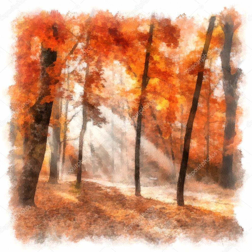 Painting showing autumn city park with sunbeams