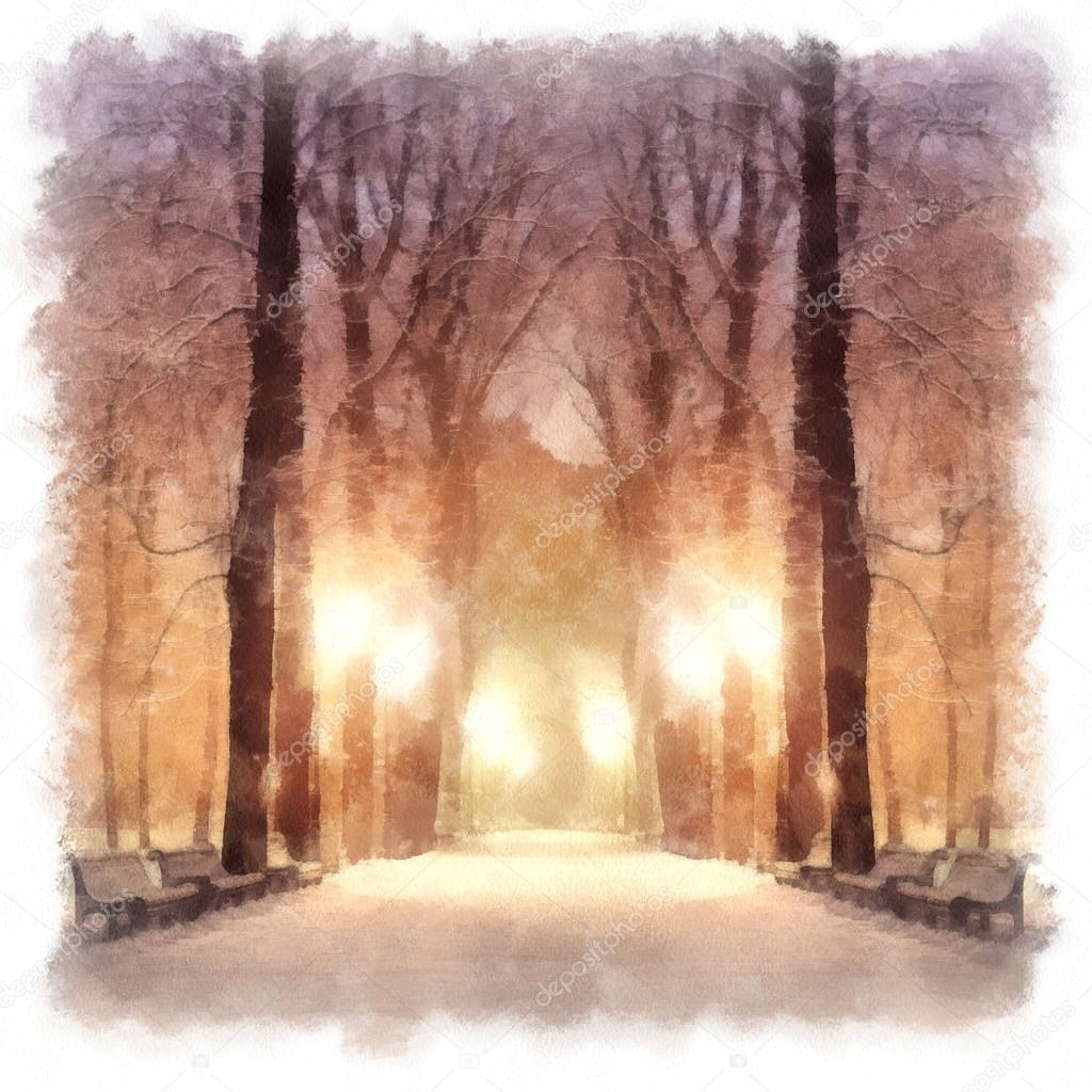 Painting showing footpath in a fabulous winter city park