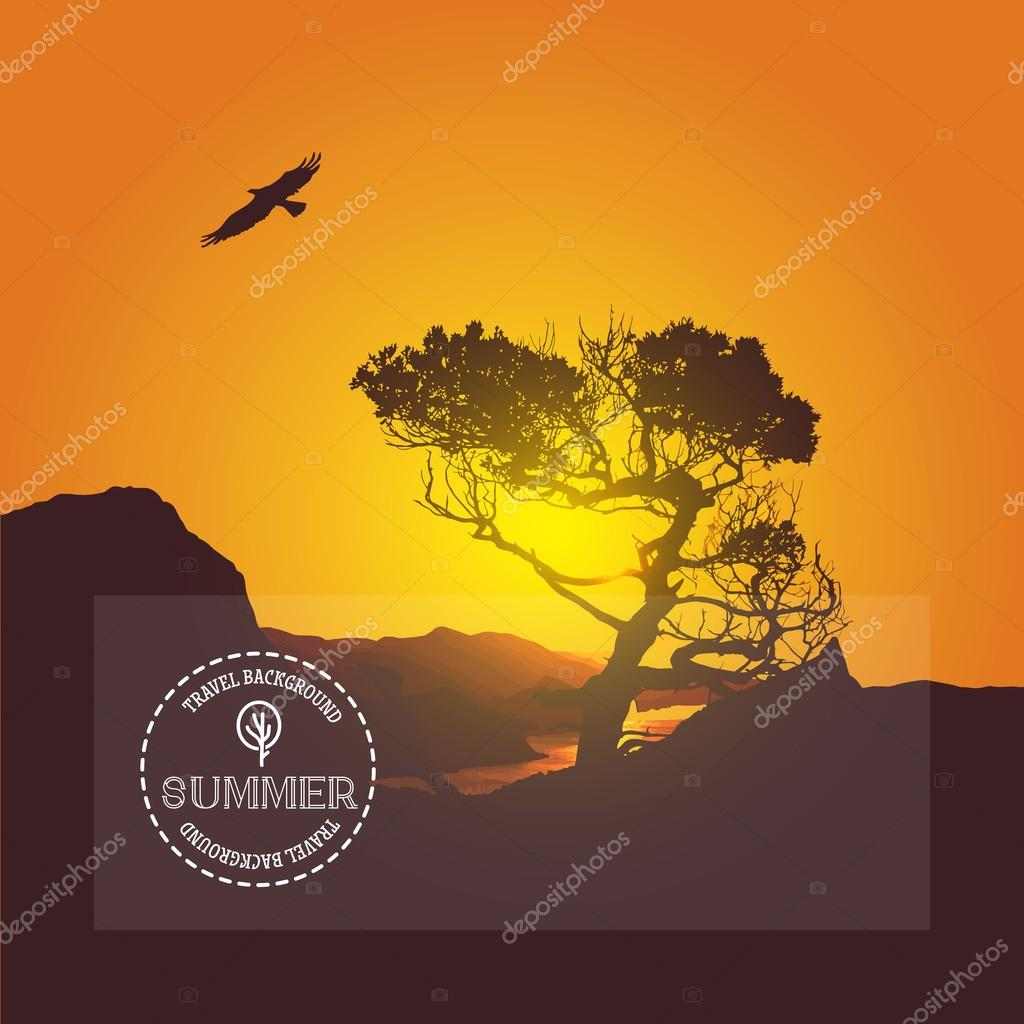 Vector landscape sunrise in mountains with tree and sea.