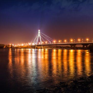 Moscow bridge in Kiev at night. Kiev city skyline