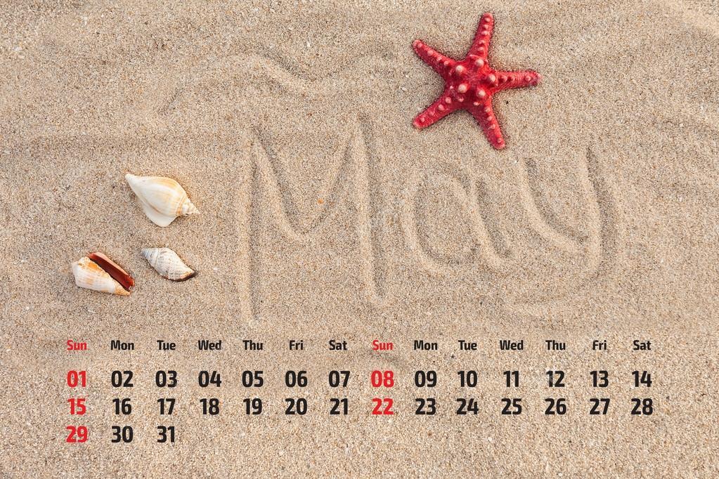Photo calendar with starfish and seashells on sand beach. May 20