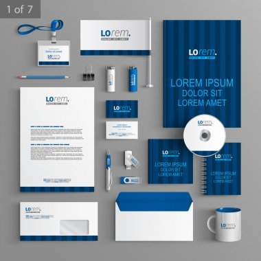 Corporate identity. Editable corporate identity template. Blue stationery template design with vertical lines. Documentation for business. stock vector