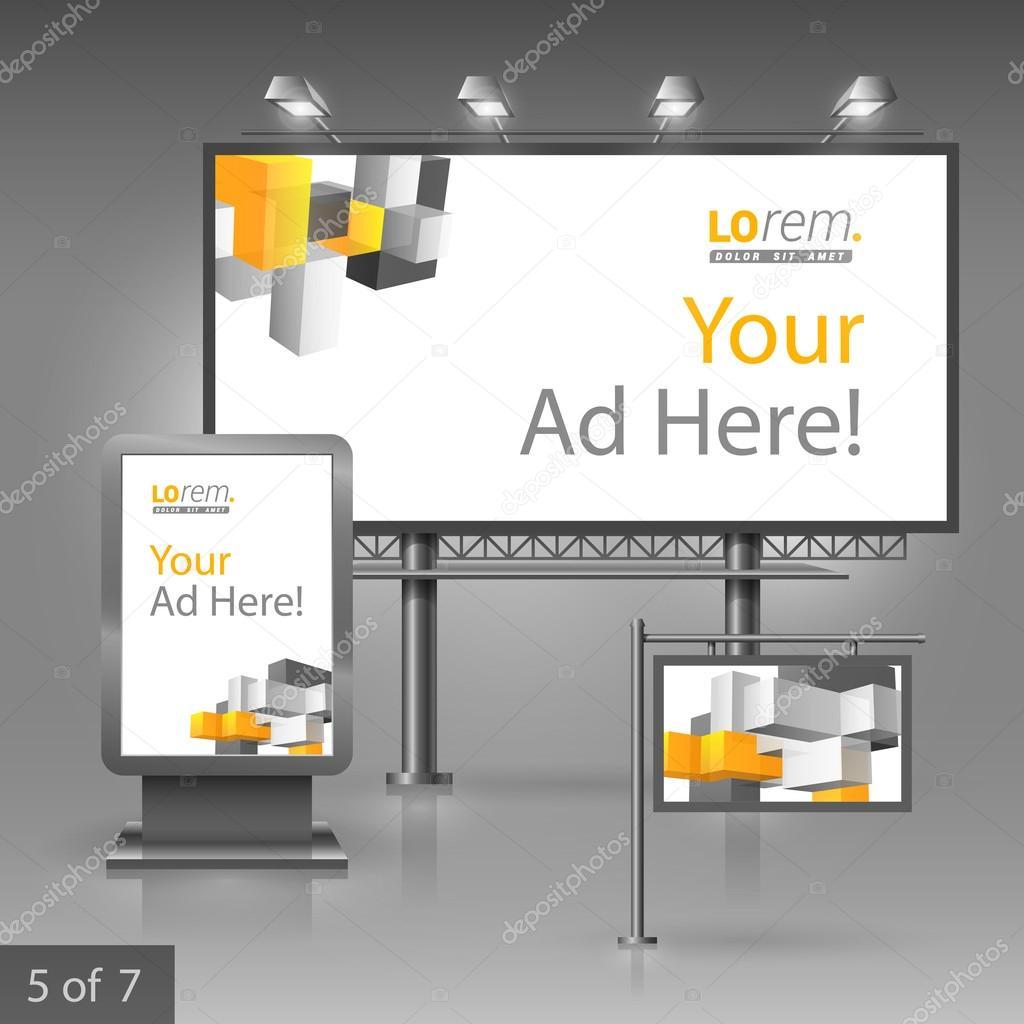 Corporate identity. Editable corporate identity template. Outdoor advertising design