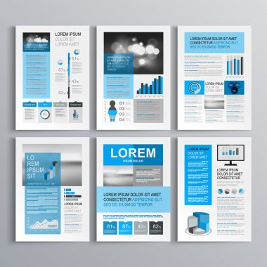 Classic brochure template design with blue and gray shapes. Cover layout and infographics stock vector