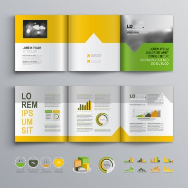 White brochure template design with green, orange and yellow shapes. Cover layout and infographics stock vector