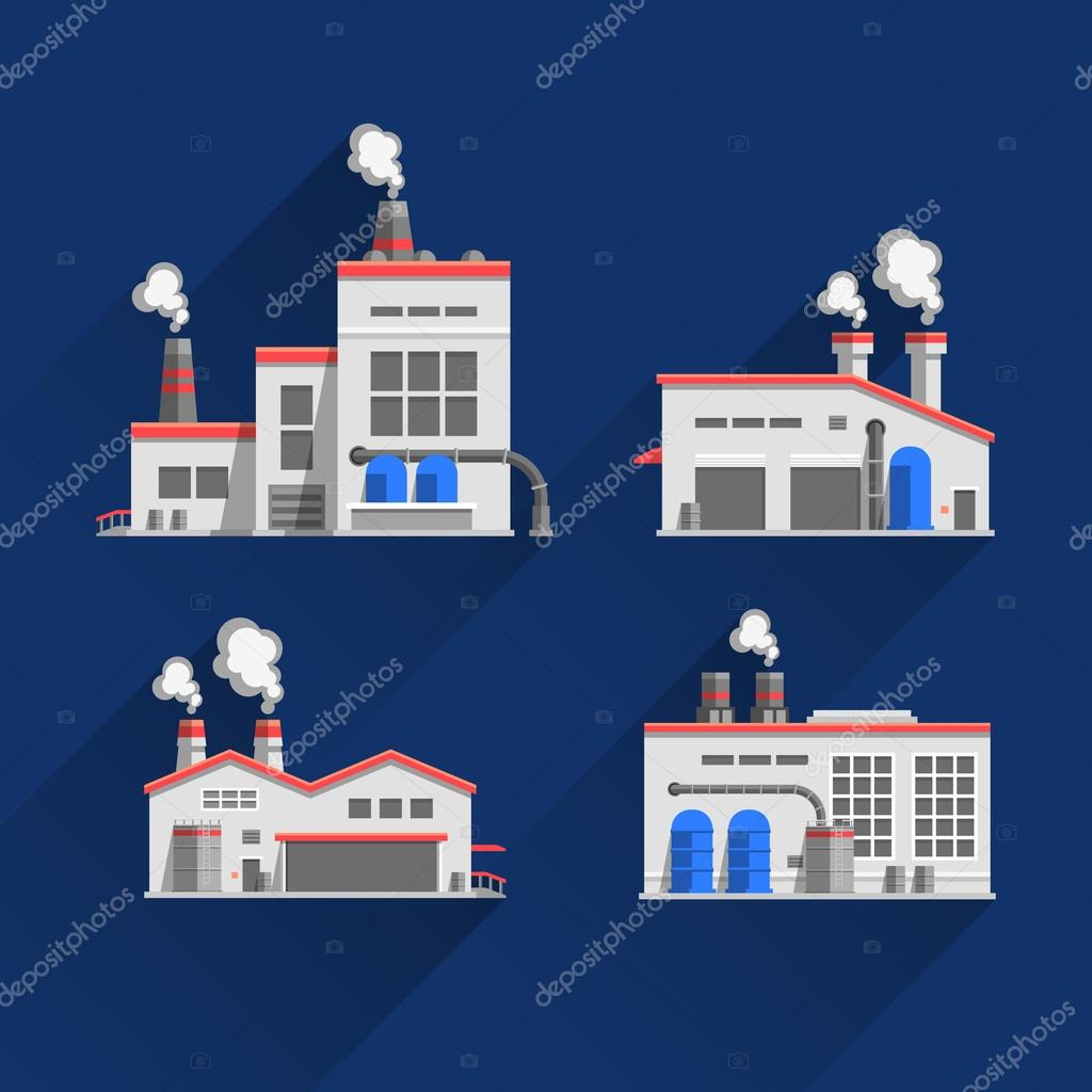 Set icons of industrial buildings and factories isolated on blue background