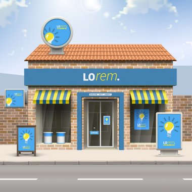Store with elements of outdoor advertising