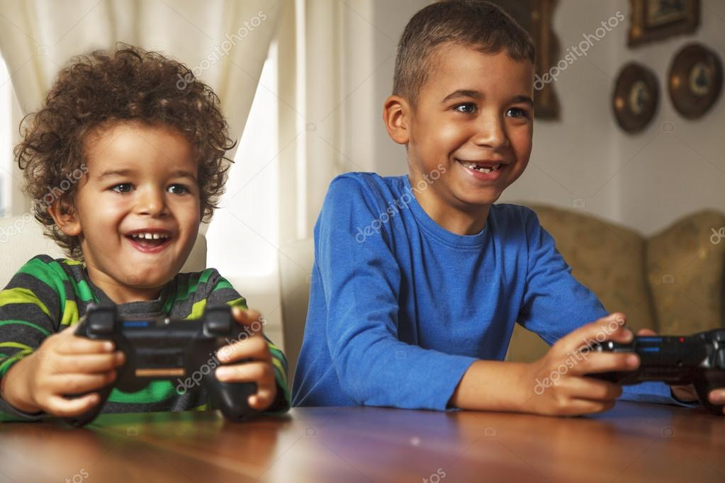 Two Friends Playing Video Game — Stock Photo © MilicaC ...