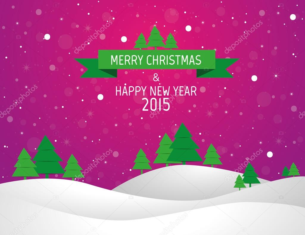 Weihnachten-Landschaft-Hintergrund mit Schnee und Baum, Wunsch-Karte ...
