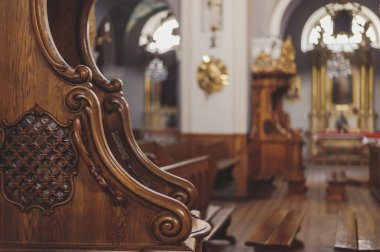 Close up of wooden confessional