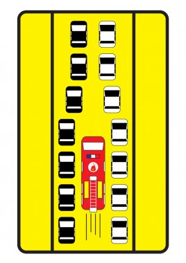 Traffic sign advise cars to give middle way to fire engine.