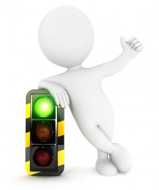 3d white people traffic light on green