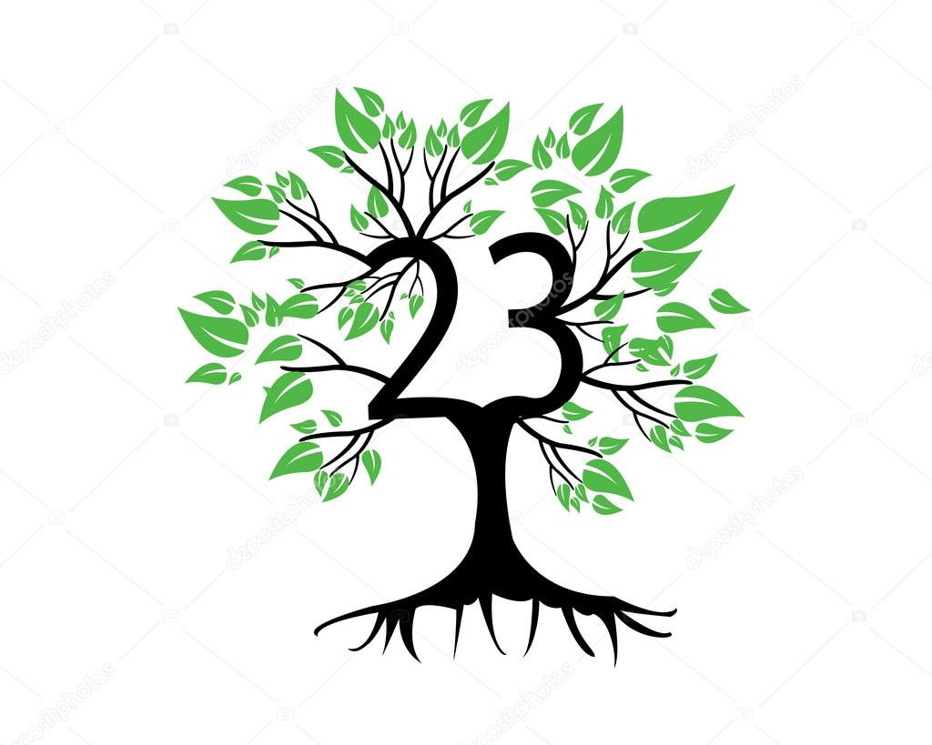 23 Years Anniversary Tree Logo
