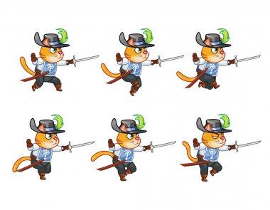 Musketeer Cat Running Sprite