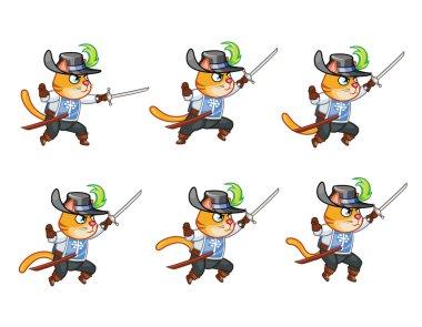 Musketeer Cat Jumping Sprite