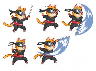 Cat Ninja Attacking Sprite