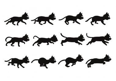 Black Cat Transition from Walkingto Running Sprite
