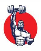Fotografia Illustrazione vettoriale di Fitness o icona Logo palestra