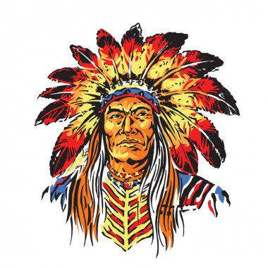 Colorful Vector Illustration of Indian Chief Head for t-shirt,sticker, or other graphics purposes stock vector