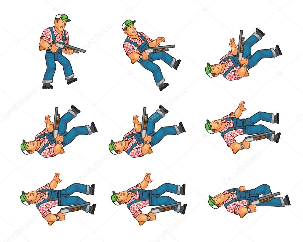 Red Neck Dying Game Animation Sprite Stock Vector Gagu 77993670