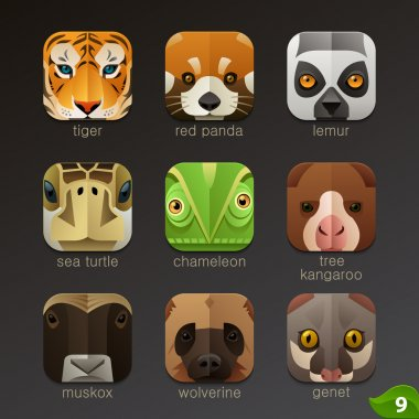 Animals muzzles icons