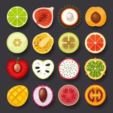 ripe fruits icons