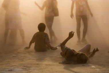 people in dust