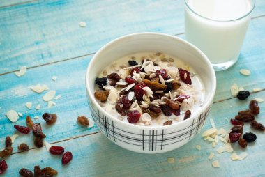 Oatmeal with dried fruit.