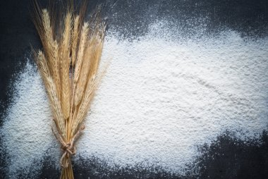 Flour background at dark