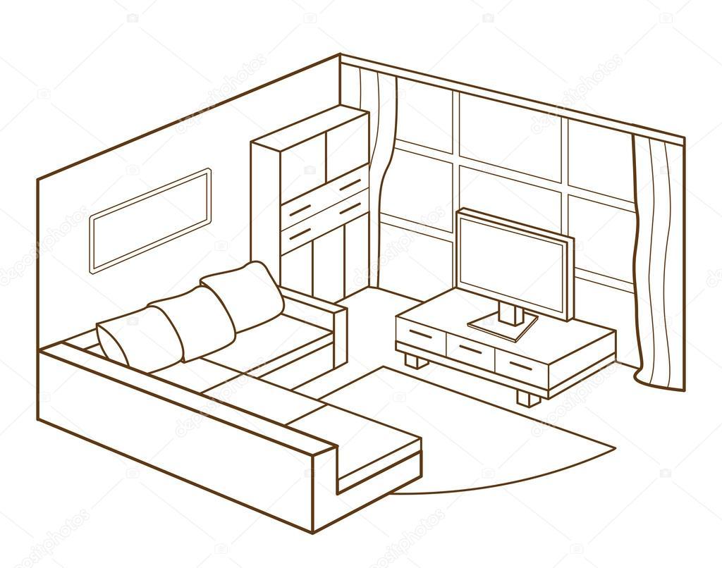 Modern Living Room Interior Vector Illustration
