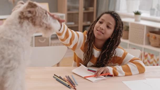 Magas látószögű közepes közelkép vidám iskolás korú afro-amerikai lány ül az íróasztal mellett a szobájában, rajz, beszél elmosódott drót Fox Terrier kutya előtte