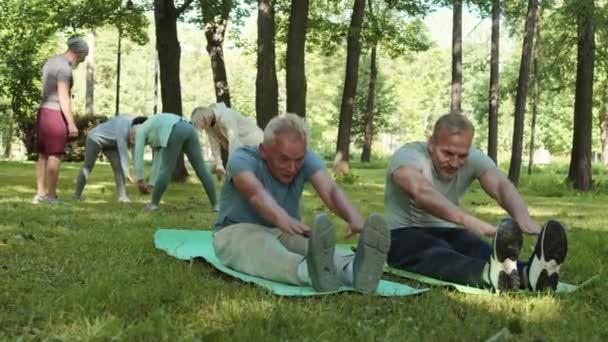 Weitwinkelaufnahme von zwei hübschen gealterten kaukasischen Sportlern, die auf Yogamatten im Park sitzen, sich strecken und angenehme Gespräche führen