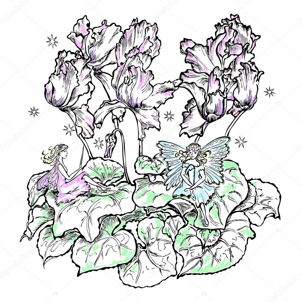 fairies sitting flower cyclamen color