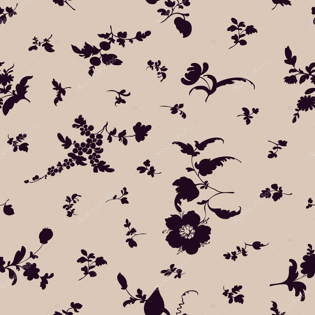 Seamless floral pattern flowers silhouette elements